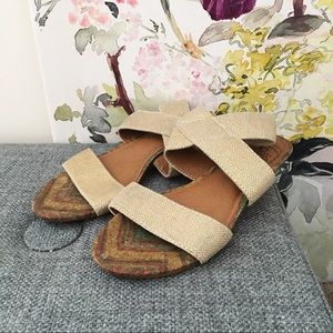 Lucky Brand Gold Canvas Crossover Wedge Sandals